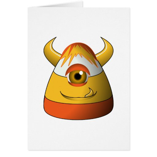 Creepy Candy Corn Cute Monster Card