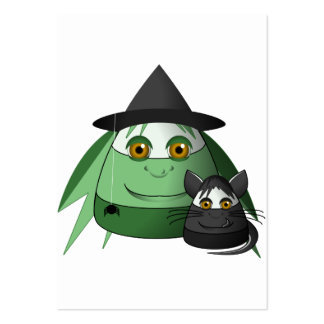Creepy Candy Corn Witch And Cat Business Card