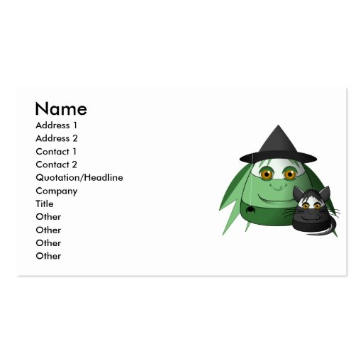 Creepy Candy Corn Witch And Cat Business Cards