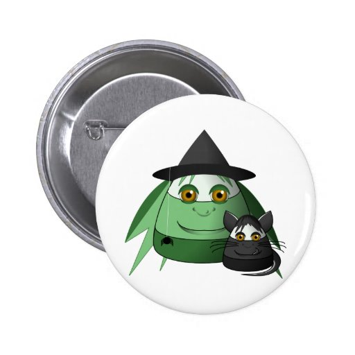 Creepy Candy Corn Witch And Cat 2 Inch Round Button
