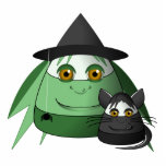 Creepy Candy Corn Witch And Cat Photo Cutout