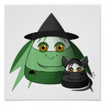 Creepy Candy Corn Witch And Cat Poster