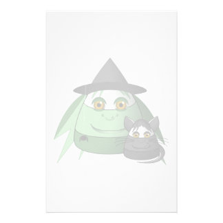 Creepy Candy Corn Witch And Cat Personalized Stationery