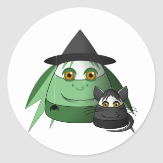 Creepy Candy Corn Witch And Cat Round Stickers