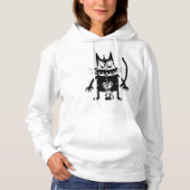 CREEPY CAT AND MOUSE DESIGN HOODIE