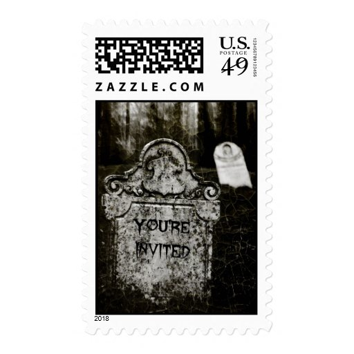 Creepy Cemetery You're Invited Postage