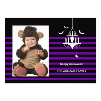 Creepy Chandelier Halloween Photo Card Personalized Invites