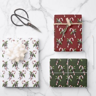 Creepy Christmas Candy Cane Skull Wrapping Paper