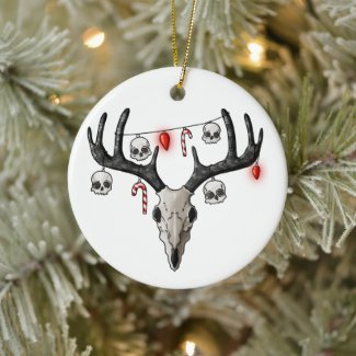 Creepy Christmas Reindeer Ceramic Ornament