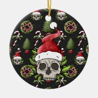 Creepy Christmas Santa Skull Ceramic Ornament