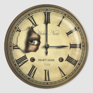 Creepy Clock Personalized Classic Round Sticker