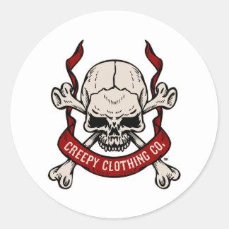 Creepy Clothing Skull Classic Round Sticker