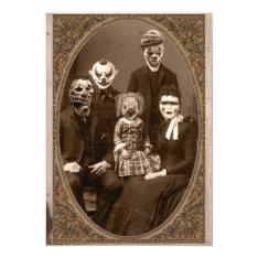 Creepy Clown Family Halloween Party Card at Zazzle