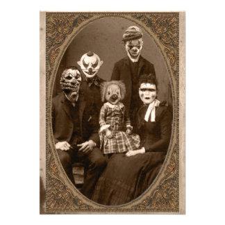 Creepy Clown Family Halloween Party Custom Announcement