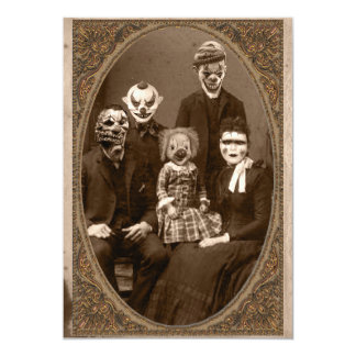 Creepy Clown Family Halloween Party Invitation