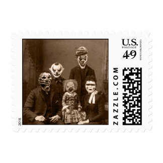 Creepy Clown Family Halloween Postage