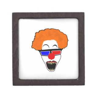 Creepy Clown in Red Blue 3D Glasses Jewelry Box