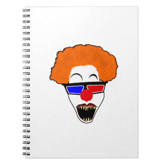 Creepy Clown in Red Blue 3D Glasses Spiral Notebook