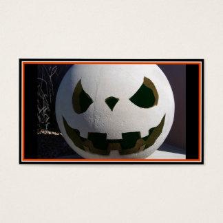 Creepy Concrete Carved Pumpkin Business Card