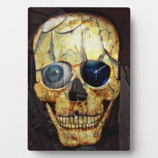 Creepy Cracked Skull with Eyeball and Clock Photo Plaques