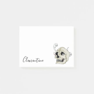 Creepy Crawler Skull Illustration with First Name Post-it Notes
