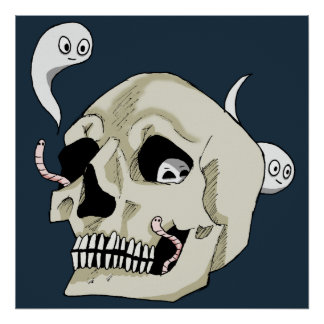 Creepy Crawler Skull Poster