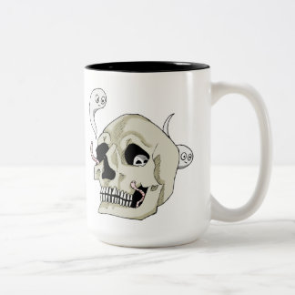 Creepy Crawler Skull Two-Tone Coffee Mug
