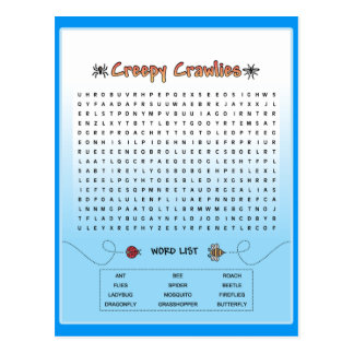 Creepy Crawlies Word Search Postcard