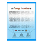 Creepy Crawlies Word Search Postcards