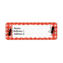 Creepy Crawly Ant Plaid Tablecloth Label