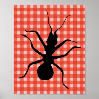 Creepy Crawly Ant Plaid Tablecloth Original Art Poster