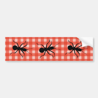 Creepy Crawly Ants Plaid Tablecloth Bumper Sticker