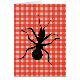 Creepy Crawly Ants Plaid Tablecloth Card