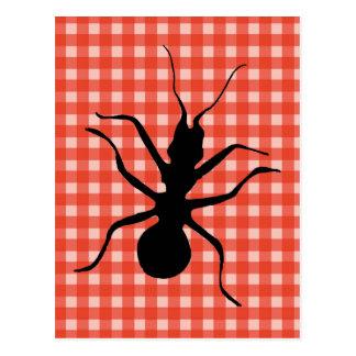 Creepy Crawly Ants Plaid Tablecloth Postcard