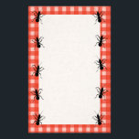 """Creepy Crawly Ants Plaid Tablecloth Stationery<br><div class=""""desc"""">This creepy crawly black ant is from my original drawing.  The marching ant is ready to attack a picnic.  See my store Art by MAR for matching products with this design.</div>"""