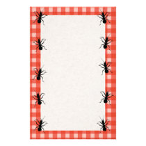 Creepy Crawly Ants Plaid Tablecloth Stationery