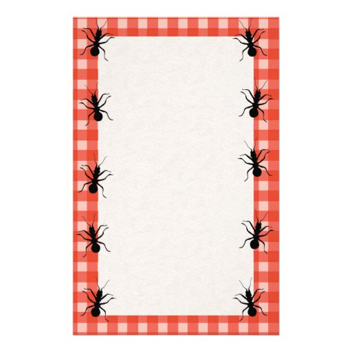 Creepy Crawly Ants Plaid Tablecloth Stationery Paper
