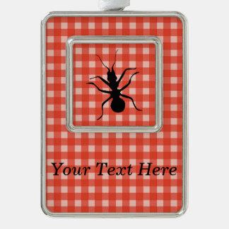 Creepy Crawly Marching Black Ant Plaid Tablecloth Christmas Ornament