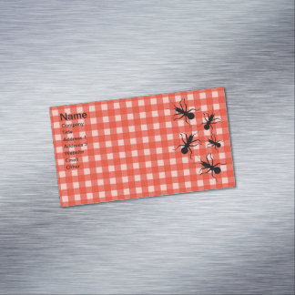 Creepy Crawly Marching Black Ant Plaid Tablecloth Magnetic Business Card