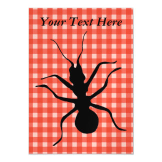 Creepy Crawly Marching Black Ant Plaid Tablecloth Magnetic Card
