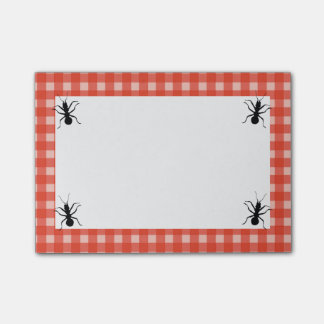 Creepy Crawly Marching Black Ant Plaid Tablecloth Post-it® Notes