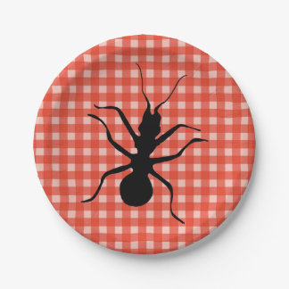 Creepy Crawly Marching Black Ant Plaid Tablecloth 7 Inch Paper Plate