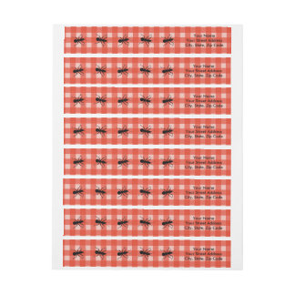 Creepy Crawly Marching Black Ant Plaid Tablecloth Wrap Around Label