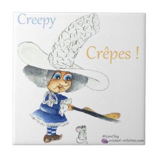 Creepy Crepes Wicked Witches Azulejo Cuadrado Pequeño