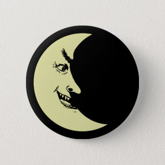 Creepy crescent moon badge button