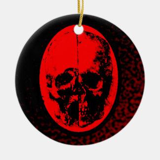 Creepy Crimson Skull Christmas Ornament