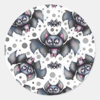 Creepy Cute Bats Pattern Classic Round Sticker