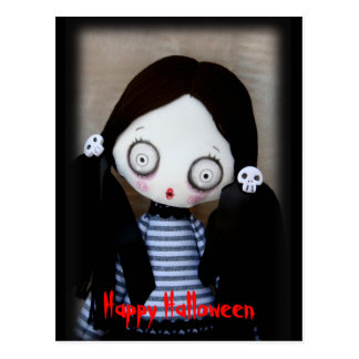 Creepy Cute Zombie Doll Halloween Postcard Postcard