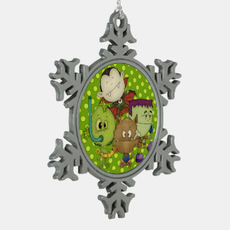 Creepy Cuties Snowflake Pewter Christmas Ornament