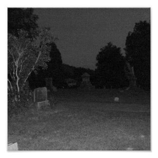 Creepy Dark Graveyard Poster